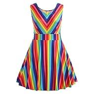 0e4bb81e00a8 HGWXX7 Women Summer Fashion Plus Size Rainbow Print Sleeveless A-Line Mini  Dress