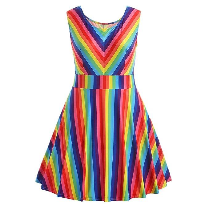 HGWXX7 Women Summer Fashion Plus Size Rainbow Print Sleeveless A-Line Mini  Dress