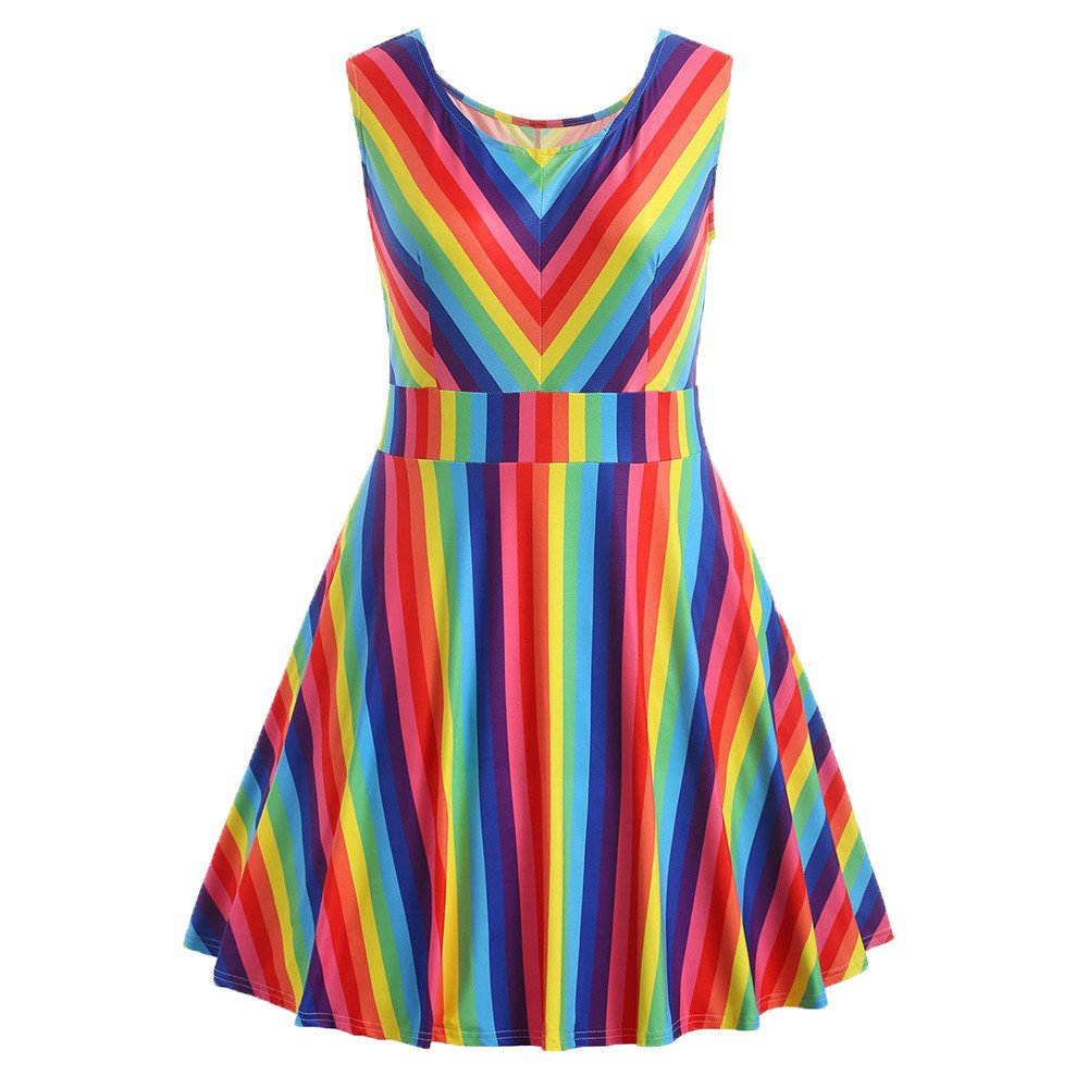 Women Dress Fashion Rainbow Print Sleeveless A-Line Mini Dress Plus Size Party Swing Dresses (XXL, Multicolor)