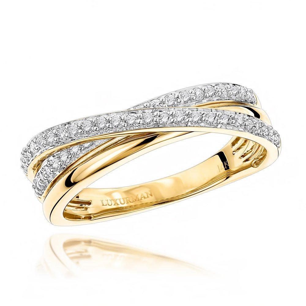 Luxurman 14K Right Hand Ladies Natural 0.4 Ctw Diamond Criss Cross Ring (Yellow Gold Size 7.5) by Luxurman