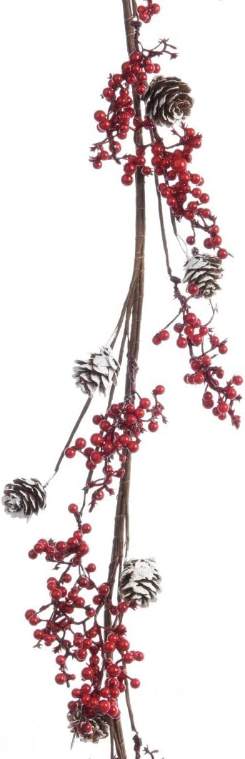 Kaemingk Girlande Beerengirlande Foambeerengirlande mit Zapfen Tischdeko Fensterdeko T/ürdeko Weihnachten L 120 cm