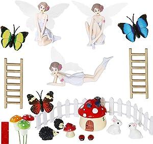 Fairy Garden Fairies kit - Miniature Figurines Accessories Ourdoor Gardening Decorations Statue Set Girl Girls Toy Birthday Gifts(21PCS)