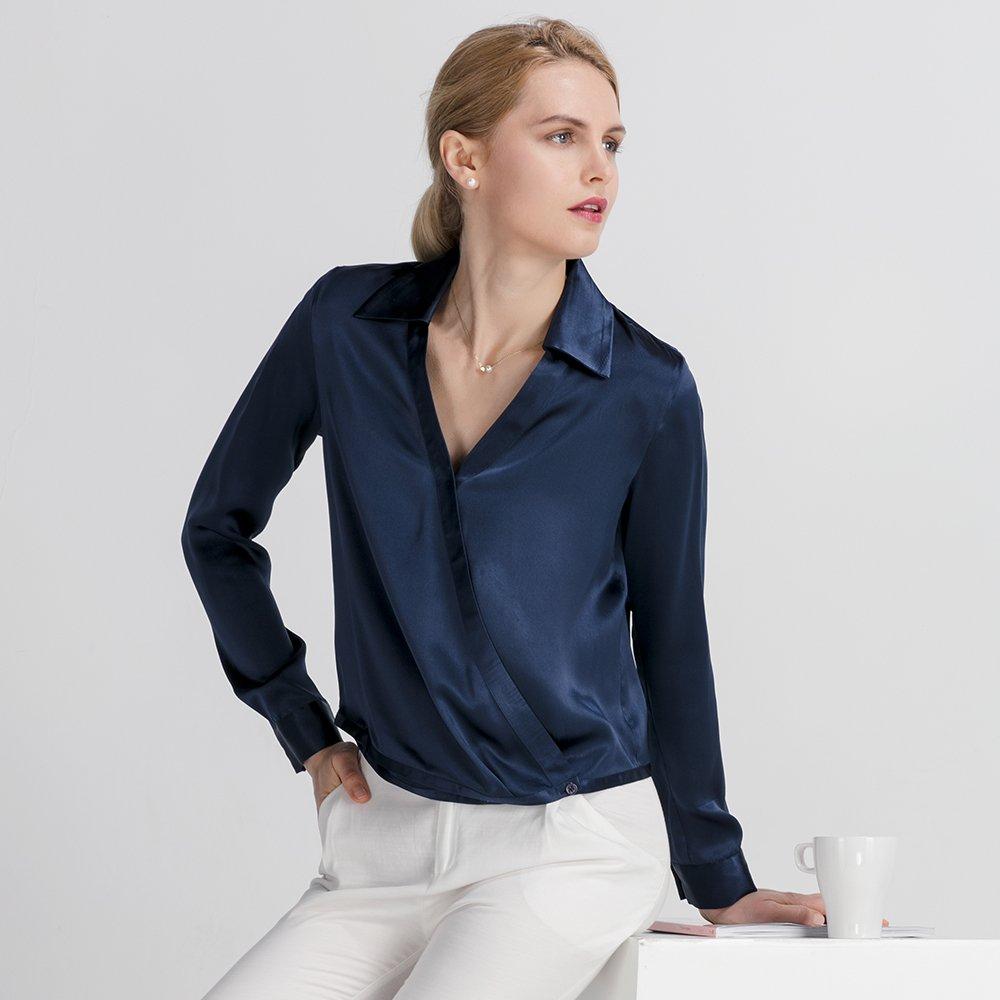 Lilysilk Camisa Mujer 100% Seda Natural 22 Momme Estilo Moderno Blusa Mujer Escote Cruzado: Amazon.es: Ropa y accesorios