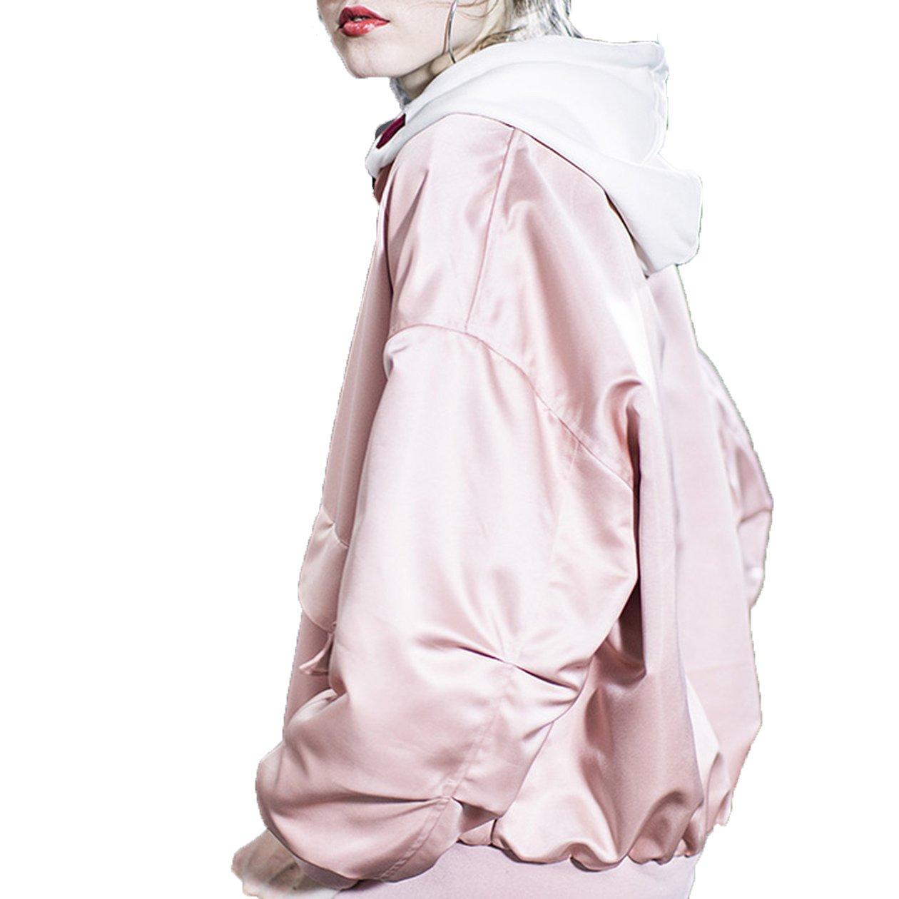 2018 Spring Pink Baseball Uniform Wind Baseball Satin Short Coat Jacket Ins Super Fire,L,Pink