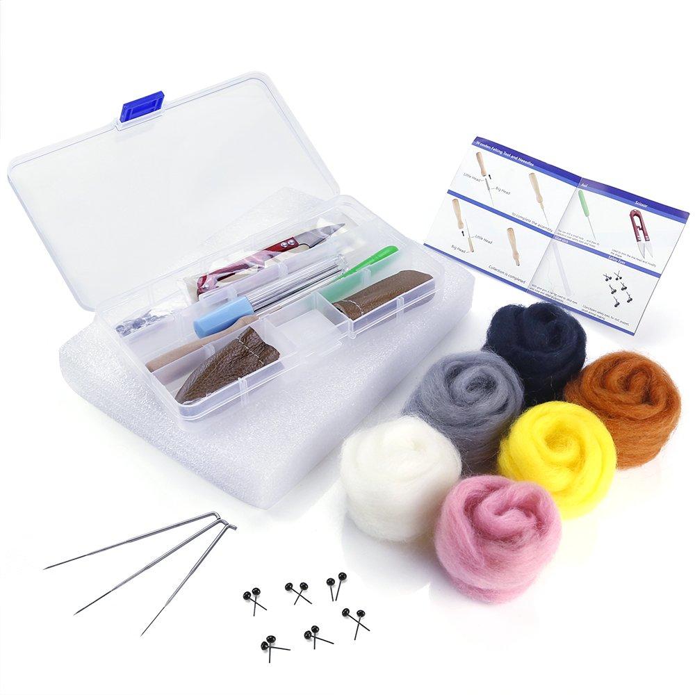 OPount Needle Felting Starter Kit Wool Felt Tools with 6 Colors Wool Roving Felting Basic Kit PP OPOUNT OP-0039