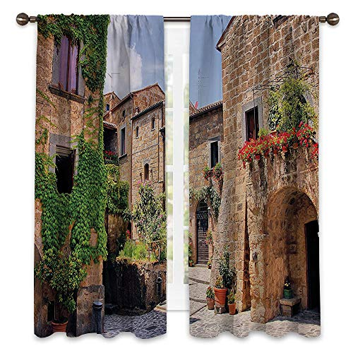 SATVSHOP Patterned Drape for Glass Door - 63W x 45L -Waterproof Window Curtain.Farm House Italian Streets in Countryside with Traditional Brick Hous Old Tuscan.