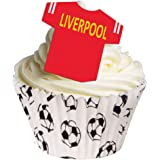 24 Edible T Shirt Decorations - Great for Liverpool Fans - Perfectly pre-Cut Wafer just pop Them Out The Packaging and top Them on Your Cake - Pack of 24 - by CDA Products Ltd