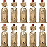 Aboat Jute Burlap Wine Bags, 14 x 5.8 Inches Reusable Wine Bags with Cotton Ropes and Tags (10)