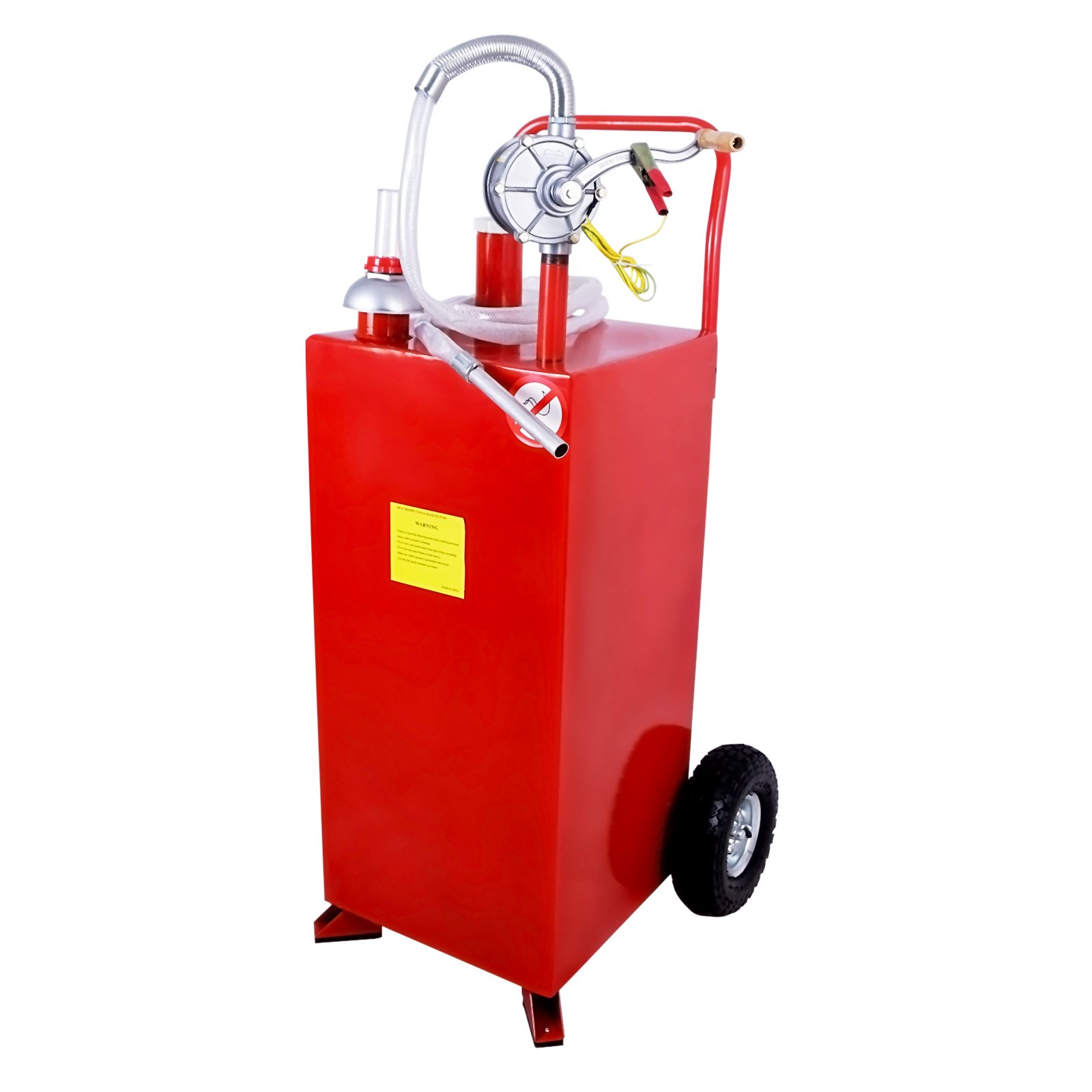 SUNCOO 30 Gallon Portable Gas Tank Diesel Fuel Caddy Storage Containers Pump & Hose Tube, Red