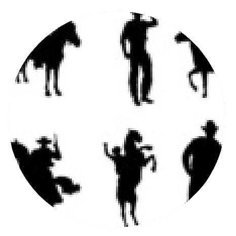 alfombrilla de ratón Conjunto de siluetas de vaquero - ronda - 20cm