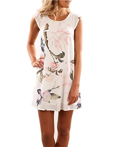 Yuandy Womens Summer Round Neck Sleeveless Print Chiffon Dress Casual Sundress