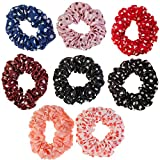 Hairstyling Accessories and Decorations Set / Kit / Lot of 8pcs Hair Scrunchies / Rubber Bands / Hairbands / Bobbles / Elastics / Ponytails Holders / Ties In Different Colours