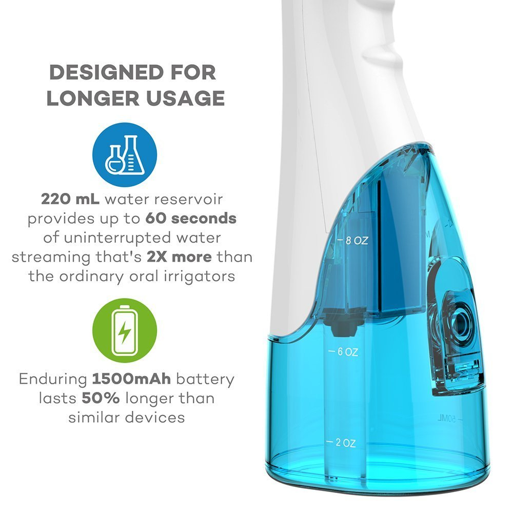 VAVA Water Dental Flosser for Whole Family, 220ML Capacity Removes 99.9% of Plaque, Debris & Tartar, Rechargable Cordless Oral Irrigator (3 Water Pressure Modes, 3 Jet Tips, FDA Approved, IPX7 Waterpr by VAVA (Image #1)