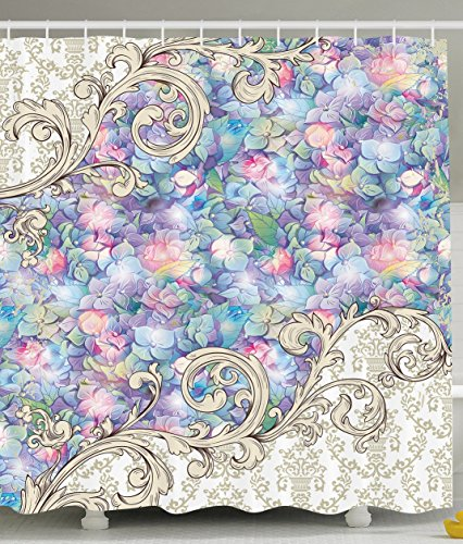 Ornaments Hydrangeas Romantic Flowers with Cream Color Baroque Bathroom Decorations for Her Special Collection Art Nouveau Design Decor Lilac and Pink Tones Fabric Shower Curtain