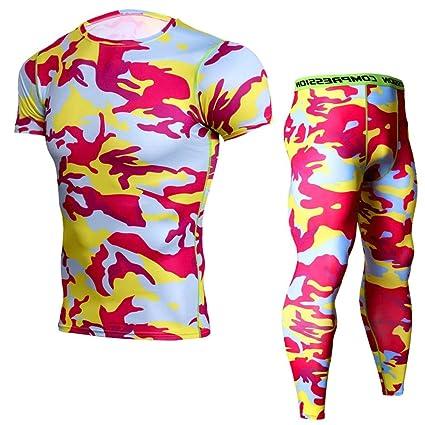 03d6f1d0b887 MAATCHHmp Abbigliamento Sportivo da Uomo Pantaloni a Compressione da Uomo  Set Leggings Lunghi Quick Dry Running