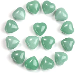 CrystalTears Natural Green Aventurine Crystal Heart Worry Stone Tumble Polished Reiki Healing Puff Heart Pocket Palm Stone for Meditation Chakra Balancing Decoration 15pcs 0.6