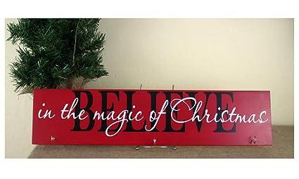 cwb2jcwb2jcwb2j - Colgador de Navidad para Calcetines, diseño con Texto en inglés Believe In The