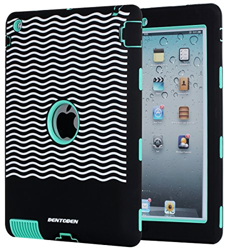 iPad 2 Case,iPad 3 Case,iPad 4 Case,BENTOBEN Heavy Duty Rugged Shock-Absorption / High Impact Resistant Hybrid Three Layer Armor Full Body Protective Case Cover for iPad 2/3/4 Retina (Black&Green)