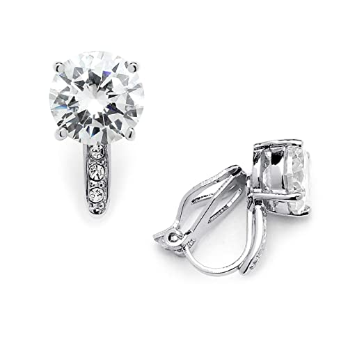 7c5817bae Amazon.com: Mariell 2.0 Ct. Clip-On CZ Solitaire Stud Earrings (8mm ...
