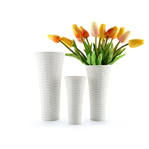 T4U White Vases for Decor Ceramic - Set of 3, Porcelain Tall Flower Vases Unique Home Decor Rattan Style Vases