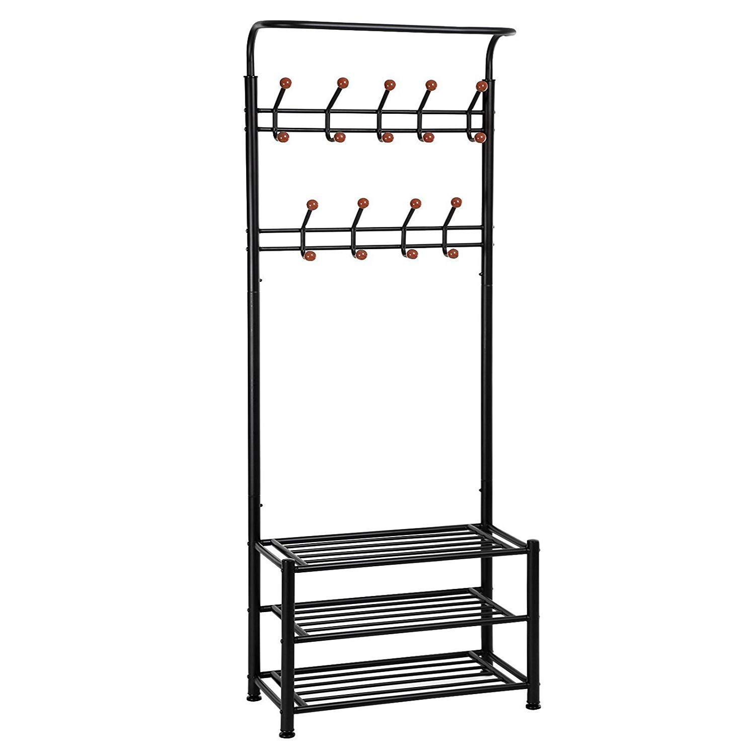 Yaker's collection Metal Entryway Coat Rack with 10 Hooks 2 Shoes Shelf Garment Rack Storage for Coat Hat Umbrella Rack (Black)