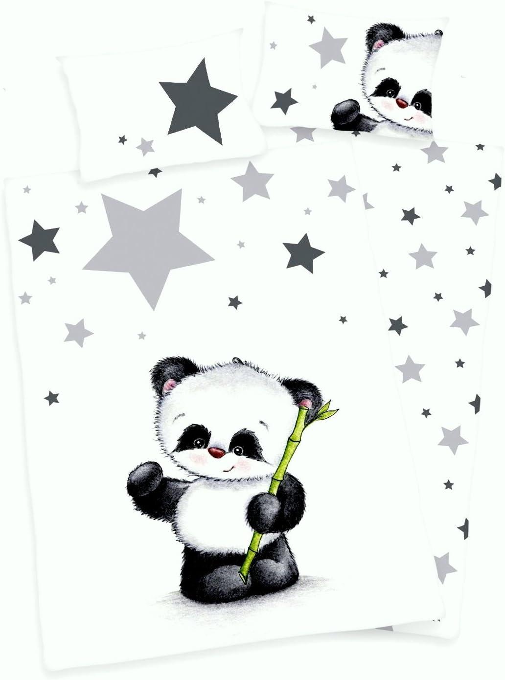 Flanelle 100 x 135 cm Parure  de lit 3 articles Pour b/éb/é R/éversible avec motif : Panda 1 drap housse 70 x 140 cm 40 x 60 cm