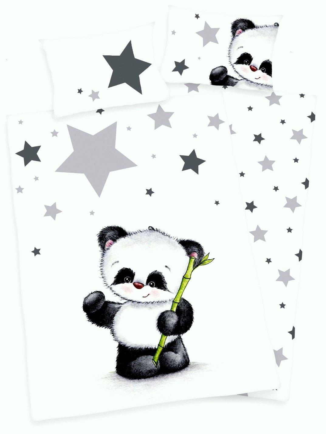 40 x 60 cm 1 drap housse 70 x 140 cm Flanelle 100 x 135 cm Parure  de lit 3 articles Pour b/éb/é R/éversible avec motif : Panda
