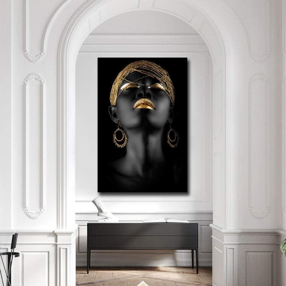 100 70 Bilder Auf Leinwand,S Fashion Schwarze Frauen Gold Ornamente Dekoration Leinwand Gem/älde Kunstdruck Poster Bild Wand Schlafzimmer Wohnzimmer Dekoration Malerei Wandbild(1)