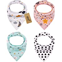 iZiv 4 PACK Baby Bandana Drool Bibs with Adjustable Snaps, Absorbent Soft Cotton Lining 0-2 Years (Color-7)