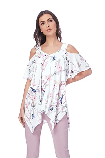 87074ddc60a25 Roman Originals Women Floral Print Cold Shoulder Top - Ladies Cold Shoulder  Dipped Hem Everyday Hanky Look Hem - Holiday Cruise Party Long Tops  ...