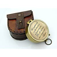 Roorkee Instruments (INDIA) Thoreau's Go Confidently Engraved Solid Brass Compass with Leather Case (50x18mm, 2.5x2.5x1inch, Brown)