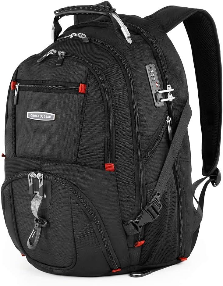 Black CrossGear CR-8112 Grand Sac /à Dos r/ésistant /à leau pour Ordinateur Portable 17,3 avec Verrouillage /à Combinaison et Port de Charge USB Noir