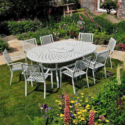 Aluminio Mobiliario de jardín muebles de jardín Set Rosemary 210 x 150 cm blanca Asiento Grupo – Mesa de jardín ovalada Rosemary Color Blanco + 8 Blanca Maria Sillas: Amazon.es: Jardín