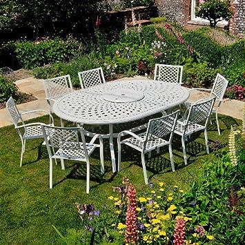 Amazonde Gartengarnitur Aluminium Gartenmöbel Set Rosemary 210 X