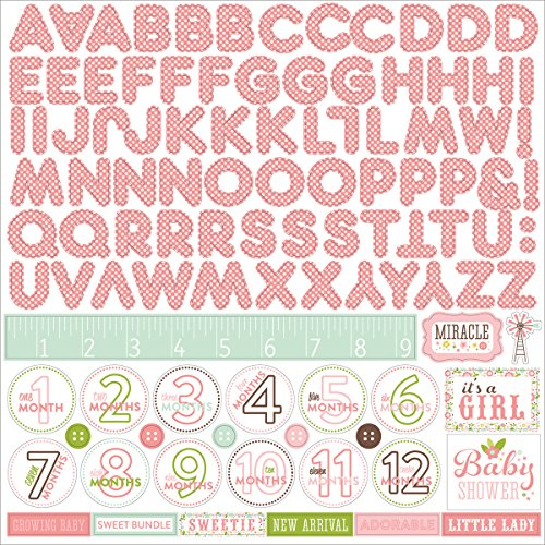 """Echo Park Paper Bundle of Joy/A New Addition Baby Girl Alpha Cardstock Stickers, 12"""" by 12"""""""
