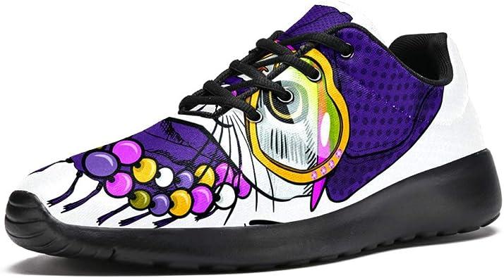 TIZORAX Zapatillas de correr para hombres y gatos en color morado con sombrero y collar de malla transpirable para caminar, senderismo, tenis, color Multicolor, talla 42.5 EU: Amazon.es: Zapatos y complementos