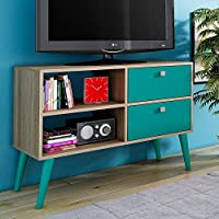 Manhattan Comfort Dalarna 35 TV Stand in Oak Aqua