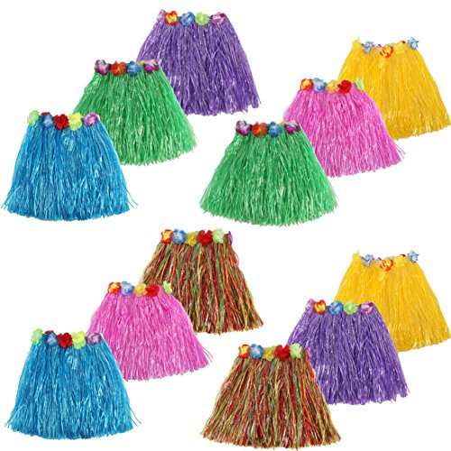 kilofly 12pc Girls Elastic Hawaiian Dancer Grass Hula Skirts Luau Party Favors by kilofly