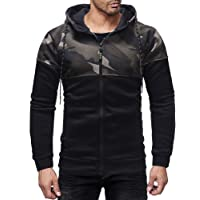Theshy Men's Autumn Winter Patchwork Pocket Camouflage Long Sleeve Hoodie Top Blouse