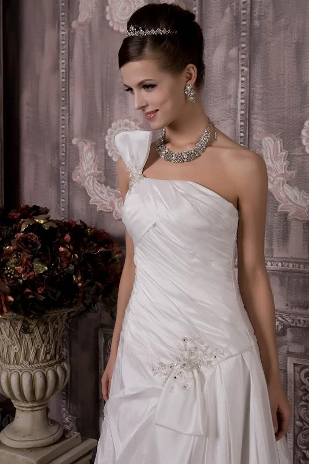 GEORGE BRIDE Glamorous One-shoulder Taffeta Wedding Dress