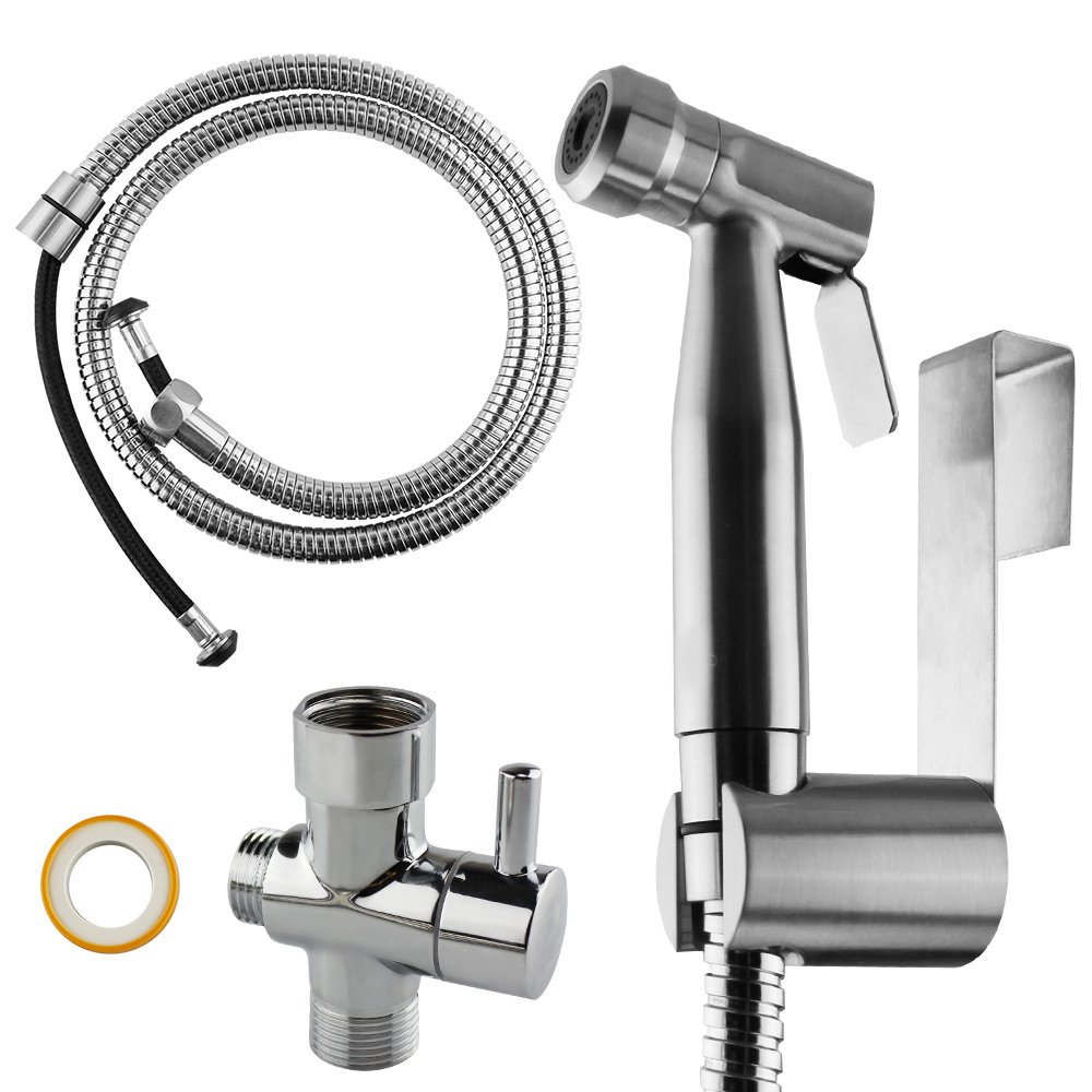 COCIVIVRE Handheld Bidet Sprayer Set for Toilet Attachment 304 Stainless Steel&Brass T-Adaptor Shattaf Cloth Diaper Sprayer Kit with Adjustable Water Pressure Bathroom Self Cleaning by COCIVIVRE (Image #1)