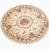 Ukeler Rustic Floral Rose Area Rugs Vintage Traditional Round Accent Floor Rugs 100% Machine Washable Shabby Country Style Carpet for Bedroom, 4'x4′