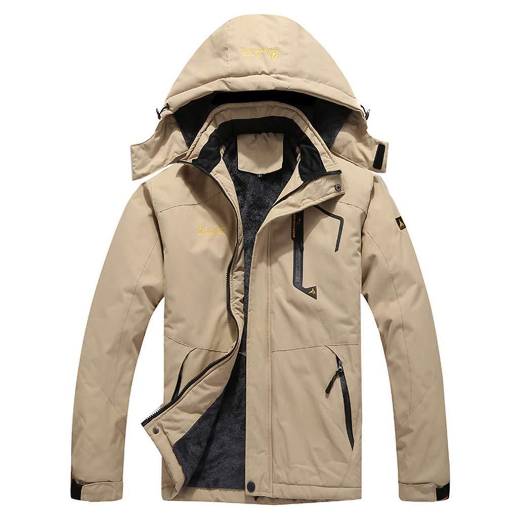 Yujingc Herrenbergjacke wasserdichte Fleece Ski-Jacke mit Kapuze Windsicher Regen Trekking Windjacke Mäntel für die kampierende Jagd