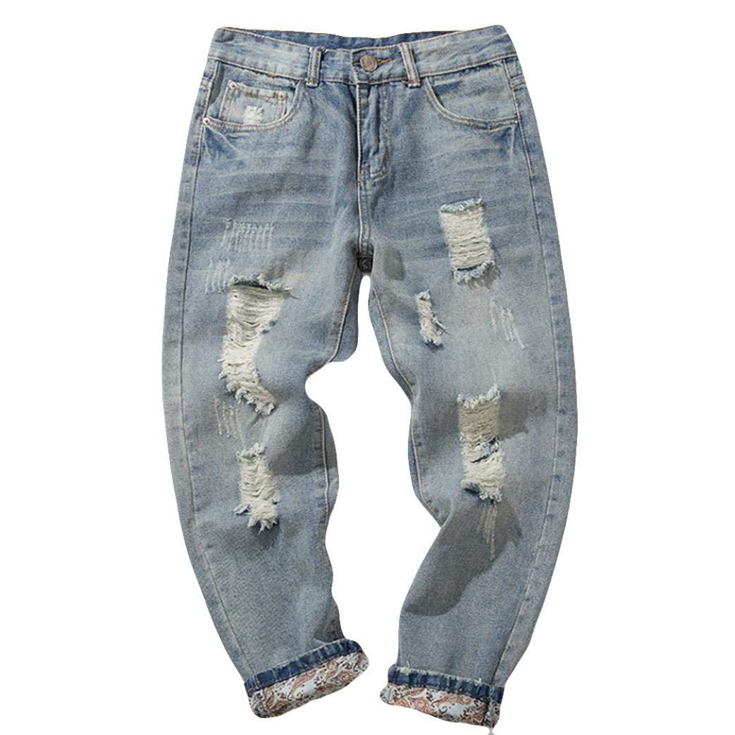 Vintage Men's Solid Denim Cotton Trousers Wash Hip Hop Work Jeans Pants