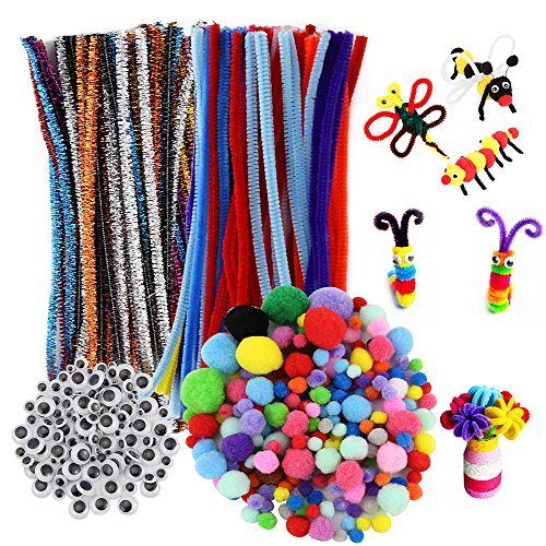 200 Adhesive Self (Kbnian Pipe Cleaners Set Self Adhesive Googly Eyes and Pom Poms Suitable for Kids School Handcraft Art Project Games and DIY Creative Crafts Supplies, 500Pcs)