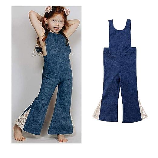 4321d136d79c Baby Girl Sleeveless Halter One-Piece Denim Romper Jumpsuit Bell Bottom  Flares Trousers (2