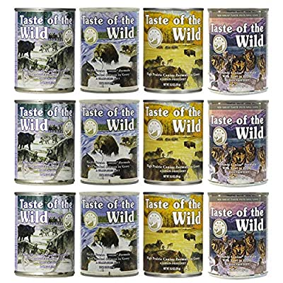 Taste of the Wild Grain-Free Canned Dog Food Variety Pack - Wetlands, Pacific Stream, High Prairie, and Sierra Mountain Pack of 12, 13.2 Ounce cans