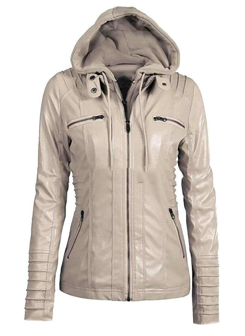 Zantt Women's PU Faux-Leather Zipper Hooded Motorcycle Bomber Jacket Coats