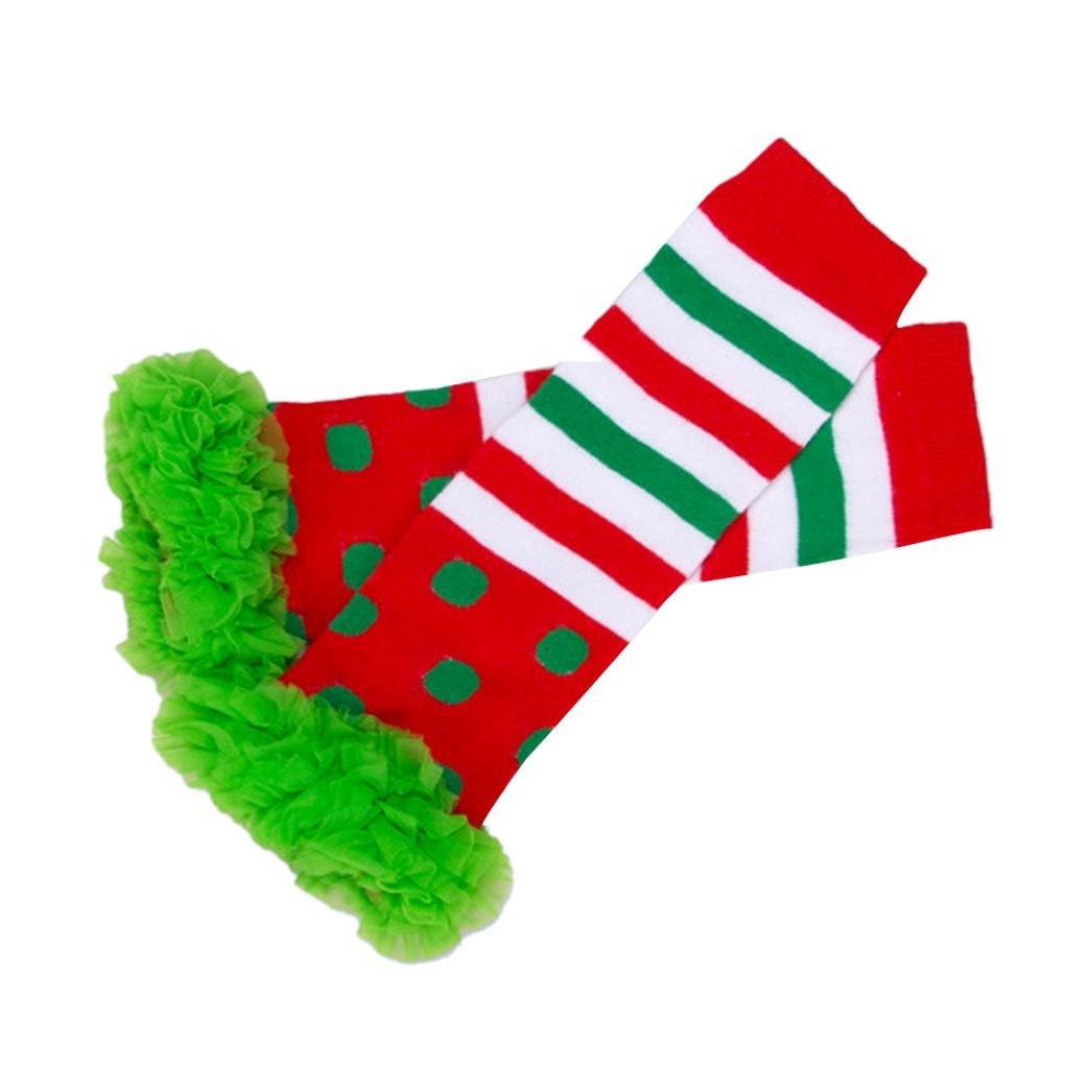 Koly Kids Girls Stripes Rainbow Kneepad Socks Leg Warmer Cotton Leggings (Hot pink) Koly-SF