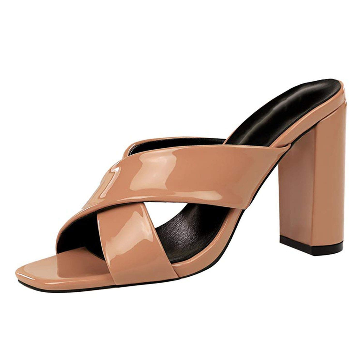 Nude Little lemon 2019 Women Mules Slippers High Square Heel Solid Fashion Sexy Khaki Outside Slippers